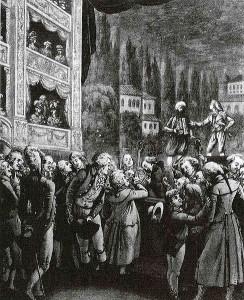 Mozart woont in Berlijn de uitvoering bij van zijn eigen Entführung aus dem Serail (1789)
