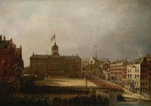 Paleis op de Dam (1811). De kleuren van de vlag zijn veelbetekenend