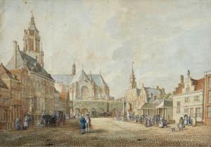 De Markt in Arnhem, pen in inkt en aquarel door Jan de Beijer (1775)