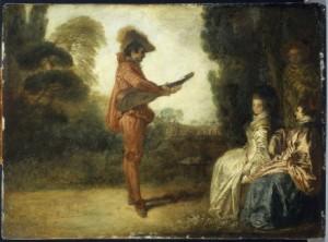 Antoine Watteau (1684-1721) L'Enchanteur Huile sur cuivre Troyes