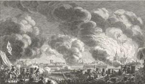 Bombardement van Bergen op Zoom in 1747, ets van Simon Fokke 1772 (coll. Rijksmuseum)