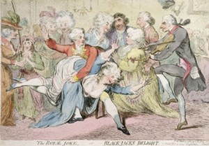 The Royal Joke, or Black Jacks Delight. Prent van James Gillray (1788)