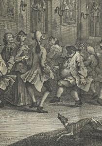 Country dansen. Detail van The Analysis of Beauty, door William Hogarth (1753)