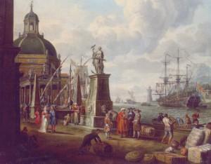 De Oostkerk in een veritaliaanste Middelburgse haven, door Adriaen Verdoel