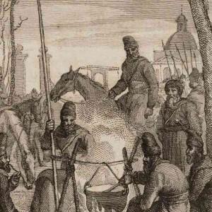 Kampement van de kozakken bij de Muiderpoort, door Abraham Vinkeles
