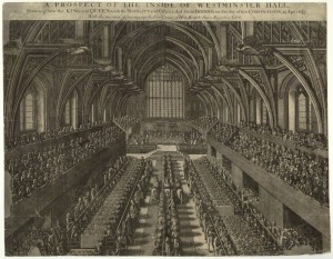 NPG D32730; A Prospect of the Inside of Westminster Hall...on the day of the Coronation, 23 Apr. 1685 (King James II; Mary of Modena) by Samuel Moore