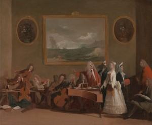 Generale repetitie voor een opera, door Marco Ricci (± 1709)