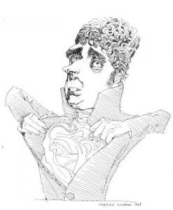 Karikatuur van Bilderdijk die Siegfried Woldhek in 1998 van hem maakte