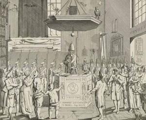 De Leidse patriotse predikant Van der Kemp is als dominee (links) en als vrijcorporist (rechts) voorgesteld (1786)