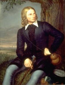 Portret van Hoffmann von Fallersleben, door Schumacher (1819)