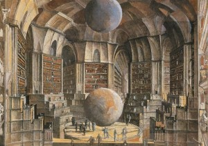 De hal der planeten in Borges' Library of Babel, door Erik Desmazières (1997)