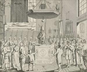 Spotprent op de patriotse predikant te Leiden, F.A. van der Kemp (1786)