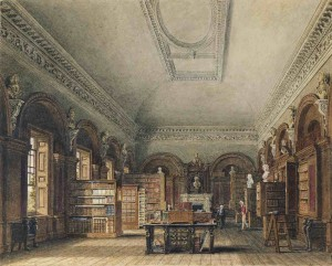 De Queen's Library in het St James's Palace, door Charles Wild (1819)