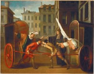 Botsing tussen twee koetsjes, door Claude Gillot (ca 1712). Coll. Louvre.
