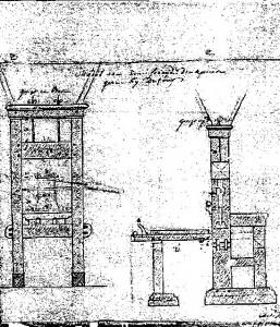 De drukpers van Dufour & Roux, tekening door de 18e-eeuwse architect Matthias Soiron