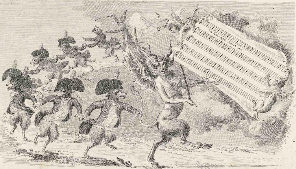 Keeshonden dansend achter de duivel