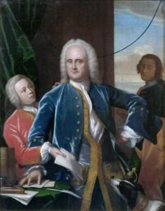 Jan Albert Sichterman (1692-1764) met zijn zoon, door Philip van Dijk
