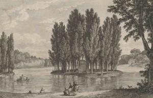 Enkele fans van Rousseau kijken naar het eiland Ermenonville, waar hun held begraven is