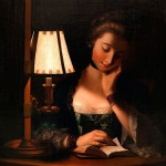 Woman Reading by a Paper-bell Shade (1766). Henry Robert Morland