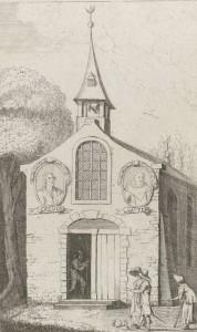 Kerkje met op de gevel portretten van kerkhervormers Calvijn en Luther. Op de torenspits prijkt de halve maan