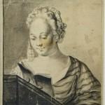 lezende vrouw Omgeving Cornelis Pieterzoon Bega (1620-1664) gewassen inkttekening
