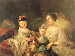 Karoline Luise von Baden en haar twee oudste kinderen (1757), geschilderd door Joseph Melling