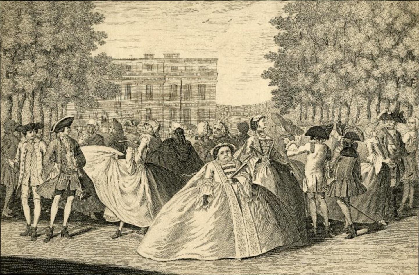 Sarirische prent mode 1745