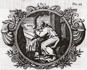 Titelvignet van Weyermans Den kluyzenaar in een vrolyk humeur (1733)