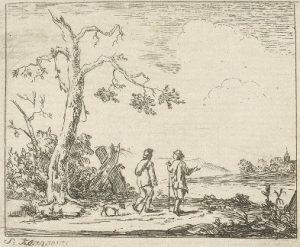 Landschap met reizigers. Prent van Simon Klapmuts. Datering: 1744-1780. Collectie Rijksmuseum.
