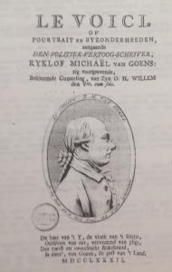 Titelpagina van Le voici, of Pourtrait en byzonderheeden aangaande Den politiek-vertoog-schrijver door C.P., uit 1782.