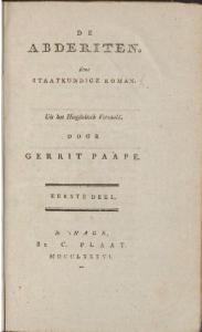 Titelpagina van de roman De Abderiten, oorspronkelijk van Christoph Martin Wieland. De Nederlandse vertaling van Gerrit Paape stamt uit 1786.